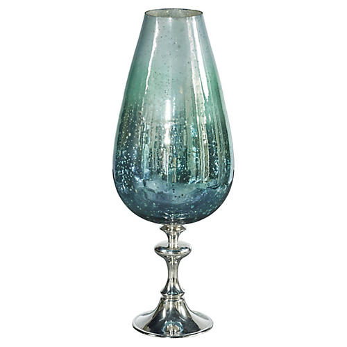 "18"" Cool Breeze Fluted Hurricane, Blue/Green"
