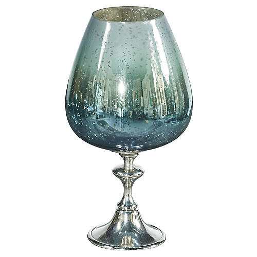 "15"" Cool Breeze Chalice Hurricane, Blue/Green"