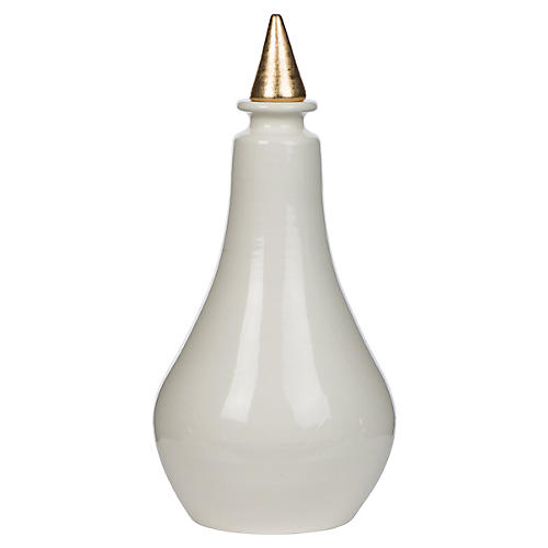 Pear Vase, White/Gold