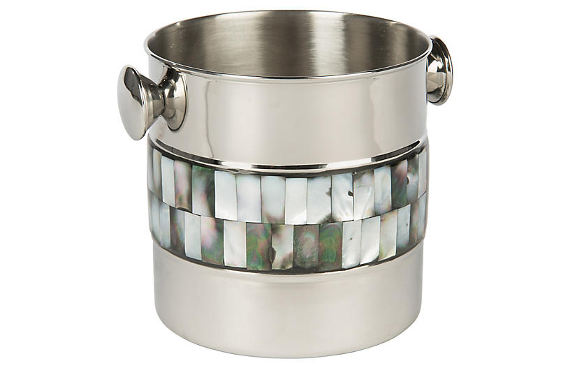 Pearce Ice Bucket, Silver/Black