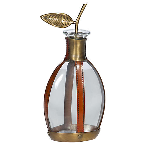 Arran Decanter, Tan/Natural/Brass