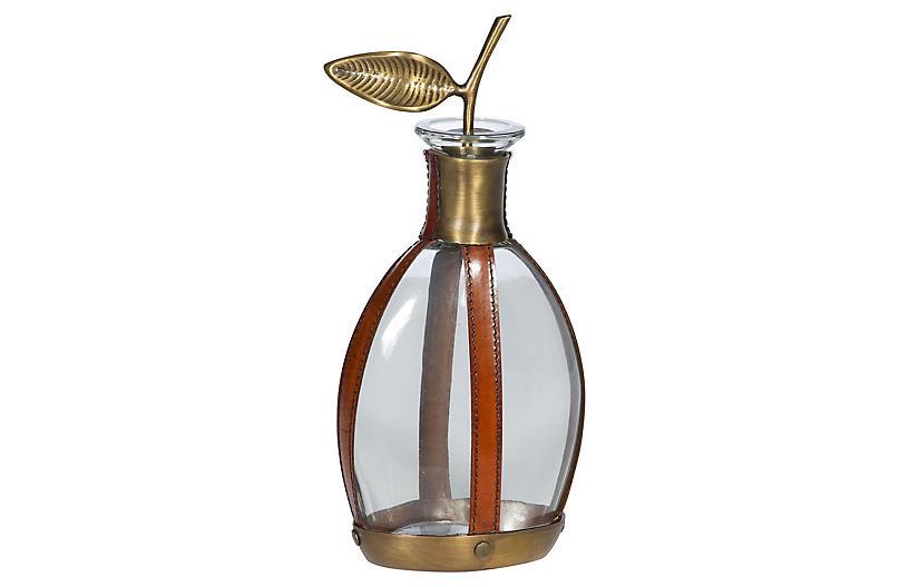 Arran Decanter, Tan/Natural/Brass