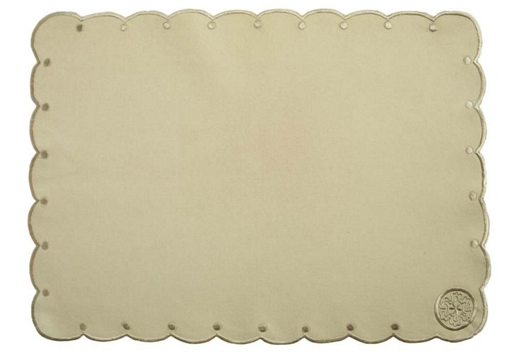 S/4 Embroidered Place Mats, Sage