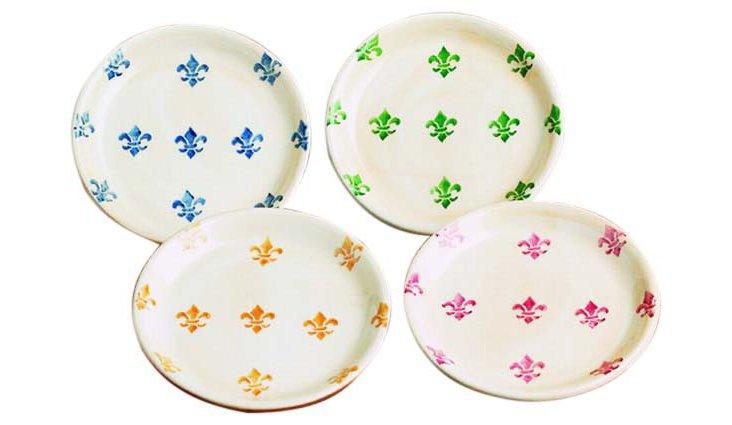 S/4 Assorted Fleur-de-Lis Plates