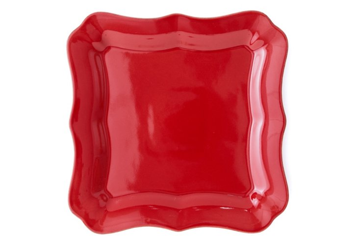S/4 Square Plates, Red