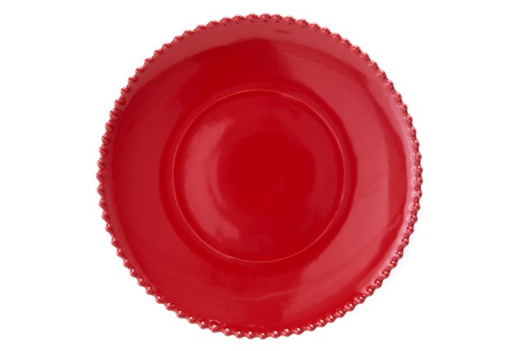 Round Pearl-Edge Platter, Red