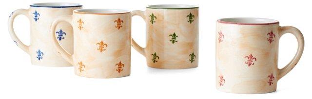 S/4 Assorted Fleur-de-Lis Mugs