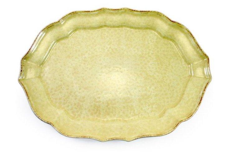Fluted Oval Platter, Buttercream