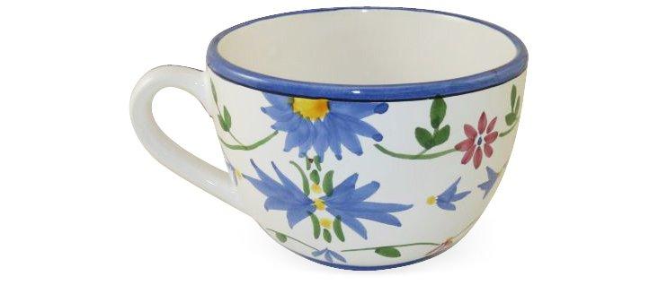 Breakfast Mug, Blue Flowers