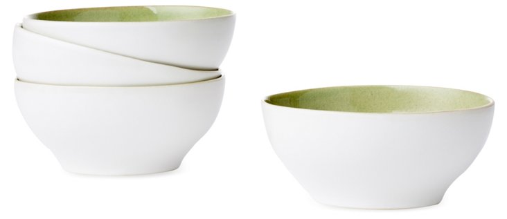 S/4 Oval Fruit Bowls, Green