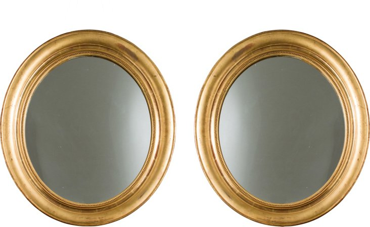 19th-C. Gold Oval Mirrors, Pair