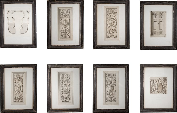 19th-C. Architectural Prints, Set of 8