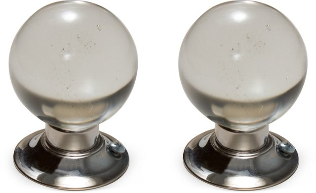 Antique Brass & Crystal Knobs, Pair