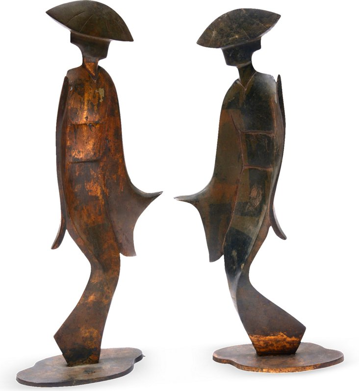 Bronze Geisha Figures, Pair