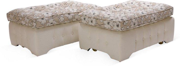 Upholstered Ottomans, Pair