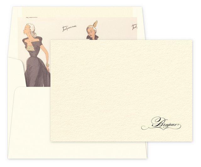"""S/12 Élan Note Cards, """"Bonjour"""""""