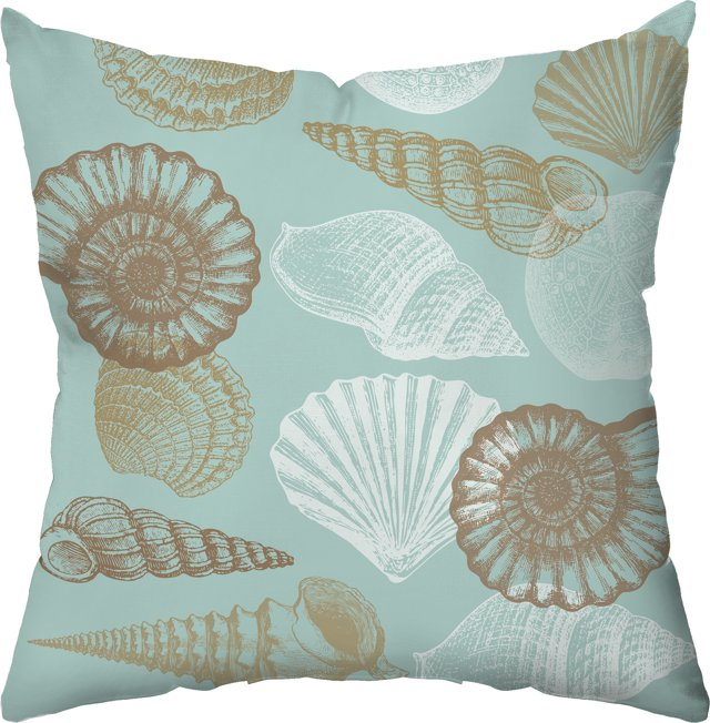Shells 18x18 Pillow, Sea Green