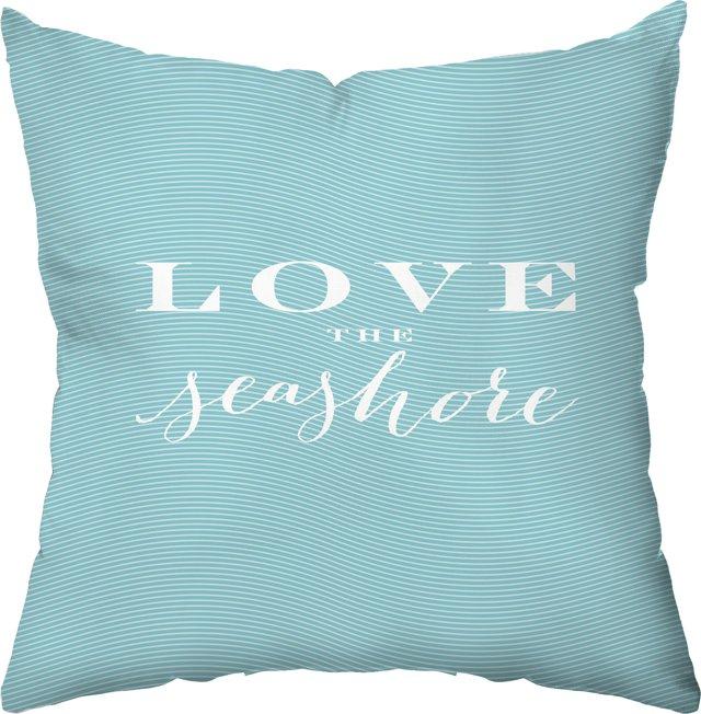 Love the Seashore 18x18 Pillow, Green