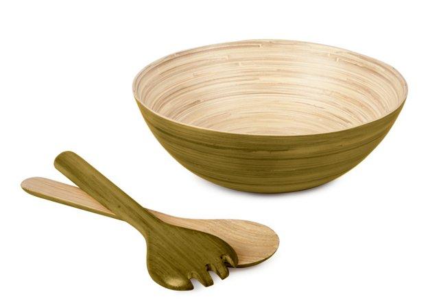 Modern Round Bowl & Servers, Olive