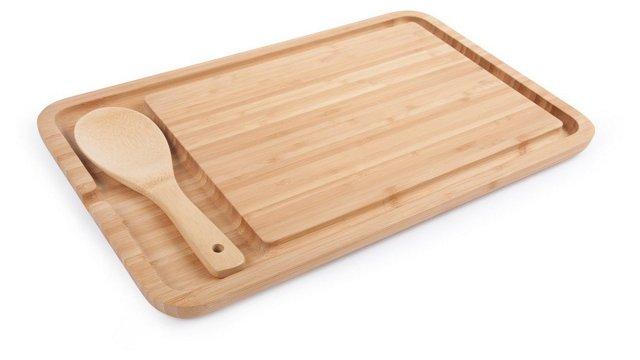 "16"" Cutting Board w/ Spoon"