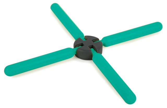 S/2 Collapsible Trivets, Teal