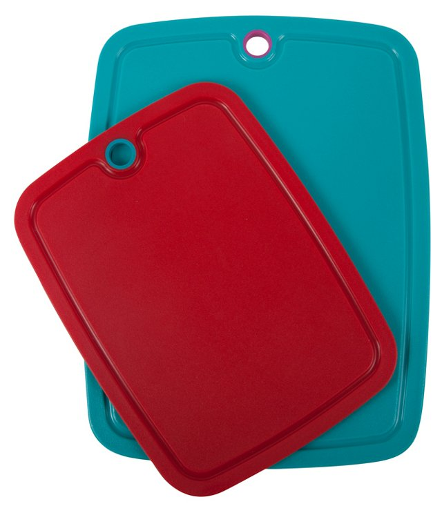 S/2 Non-Slip Boards, Red/Teal