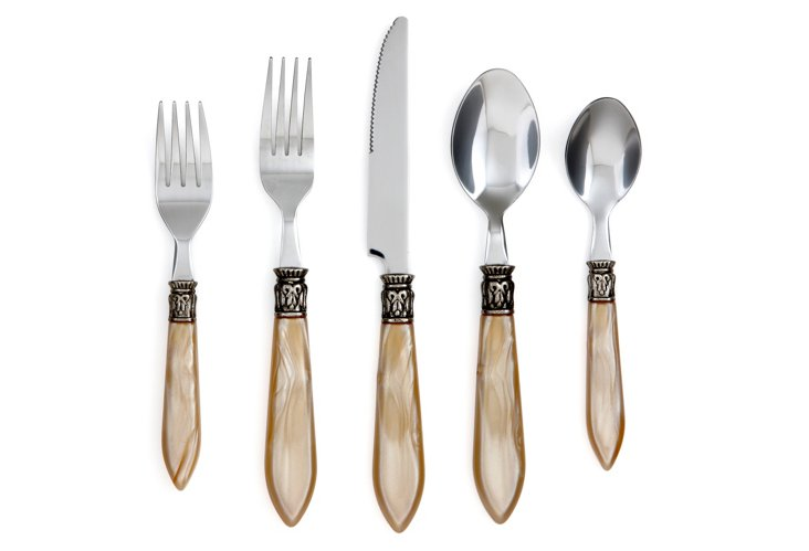 20-Pc Cameo Flatware Set, Champagne
