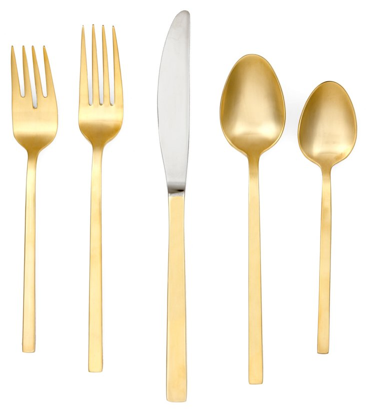 20-Pc Chop Satin Flatware Set, Gold