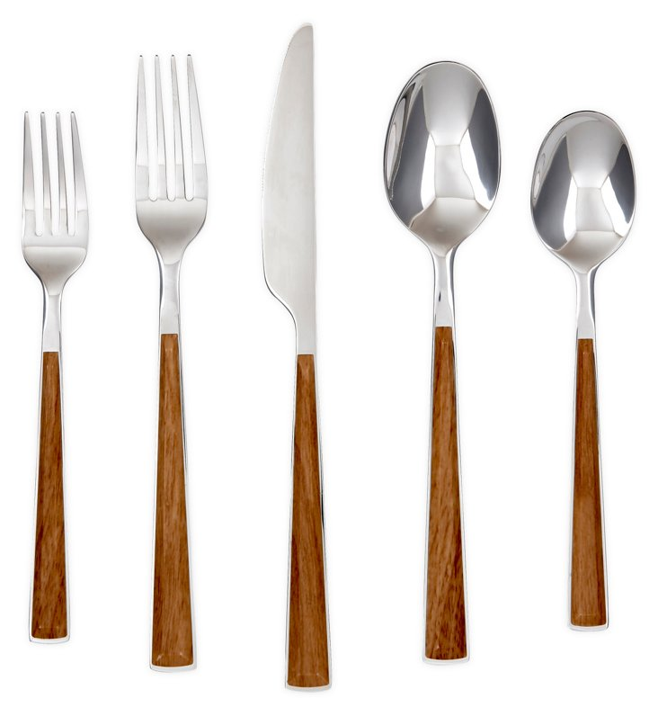 20-Pc Esben Beachwood Flatware Set