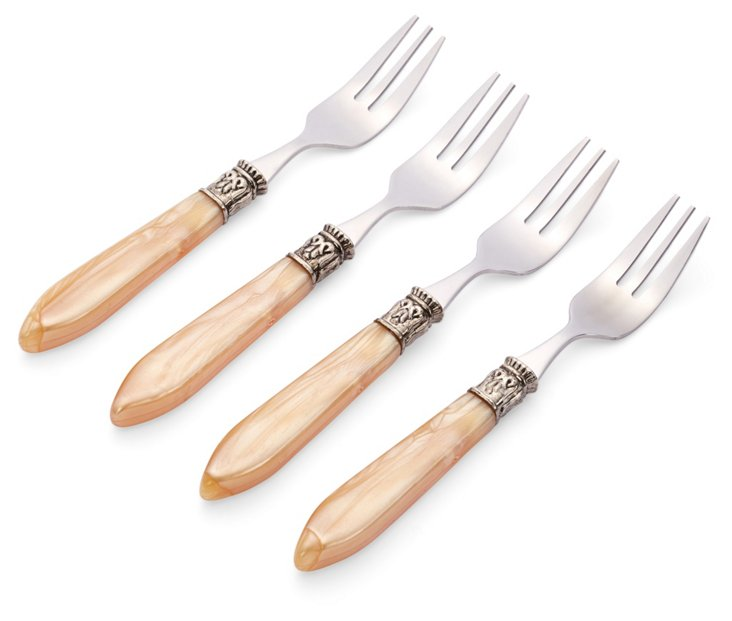 4-Pc Cameo Cocktail Forks Set, Champagne