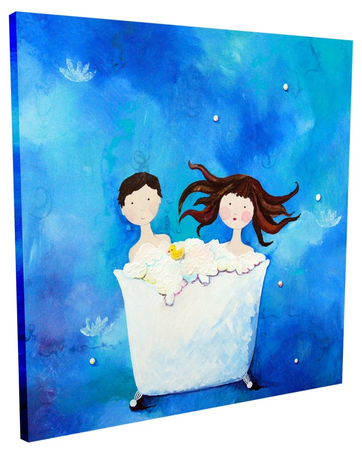 Two in a Tub - Brunette, Canvas