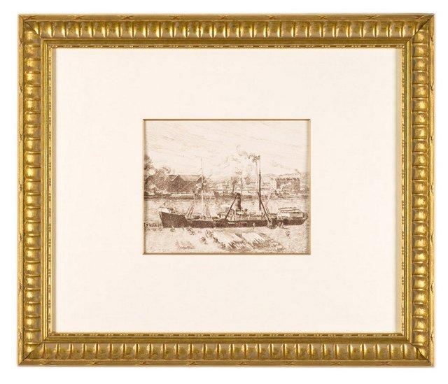 Pissarro, Bateau à Rouen 2