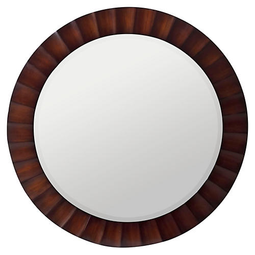 "Paula 36"" Round Mirror, Brown"