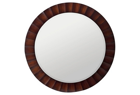 Paula Round Wall Mirror, Brown