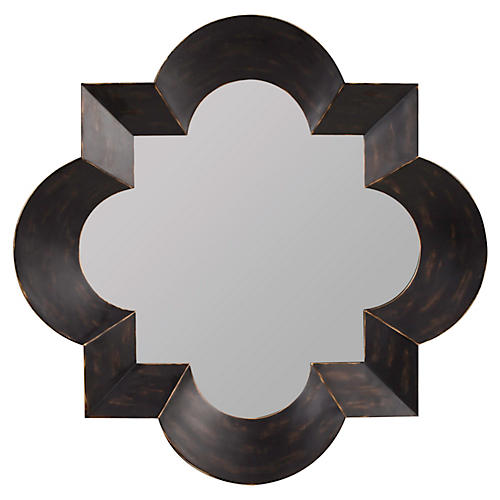 "Hotaru 49"" Wall Mirror, Black/Brown"