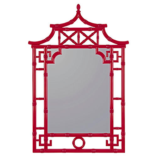 Chinoiserie Wall Mirror, Red