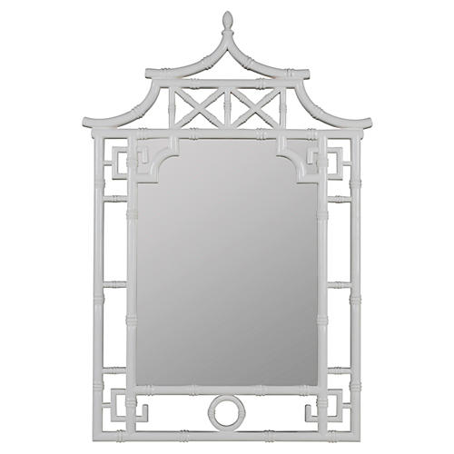 chinoiserie bamboo wall mirror white