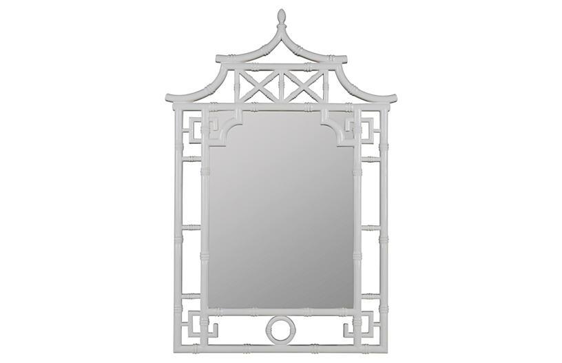 Chinoiserie Wall Mirror, White