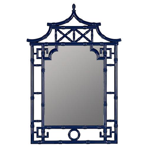 Chinoiserie Wall Mirror, Cobalt