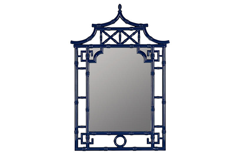 Chinoiserie Wall Mirror, Cobalt