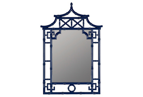Chinoiserie Bamboo Mirror, Cobalt