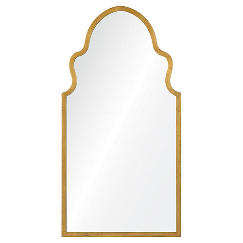 """20""""x38"""" Queen Anne Mirror, Gold"""