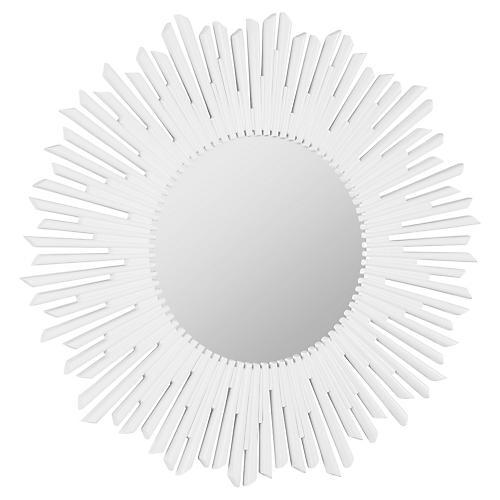 """Sunburst 36"""" Wall Mirror, White"""