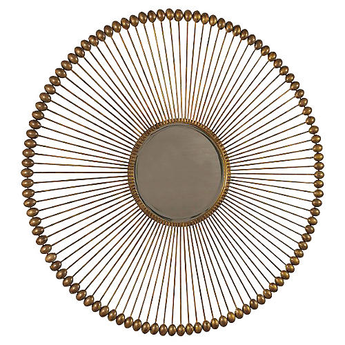 Larkspur Wall Mirror, Antiqued Gold