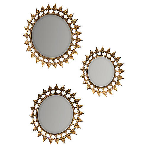 Prinz Wall Mirrors, Aged Gold