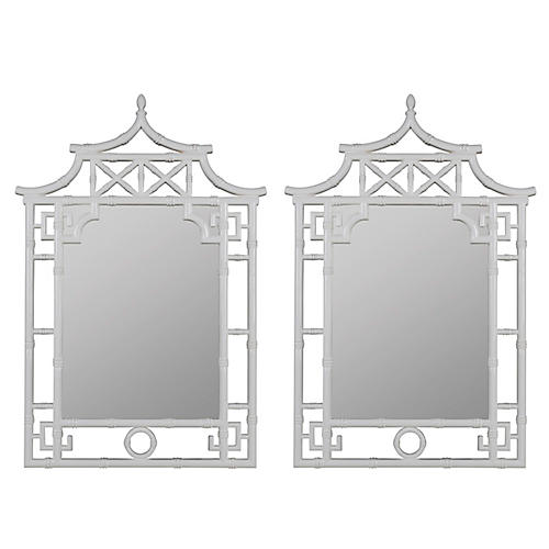 Chinoiserie Wall Mirrors, White