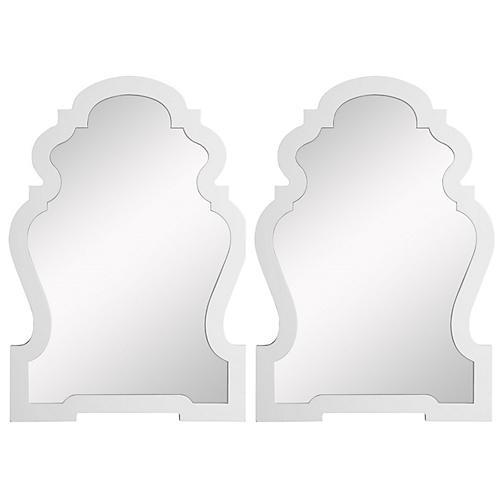 S/2 Harrison Wall Mirrors, White