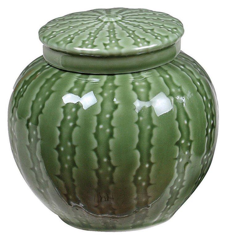 """5"""" Green Ceramic Jar w/ Lid"""