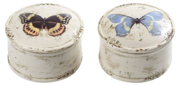 Asst. of 2 Butterfly Boxes, Whitewashed