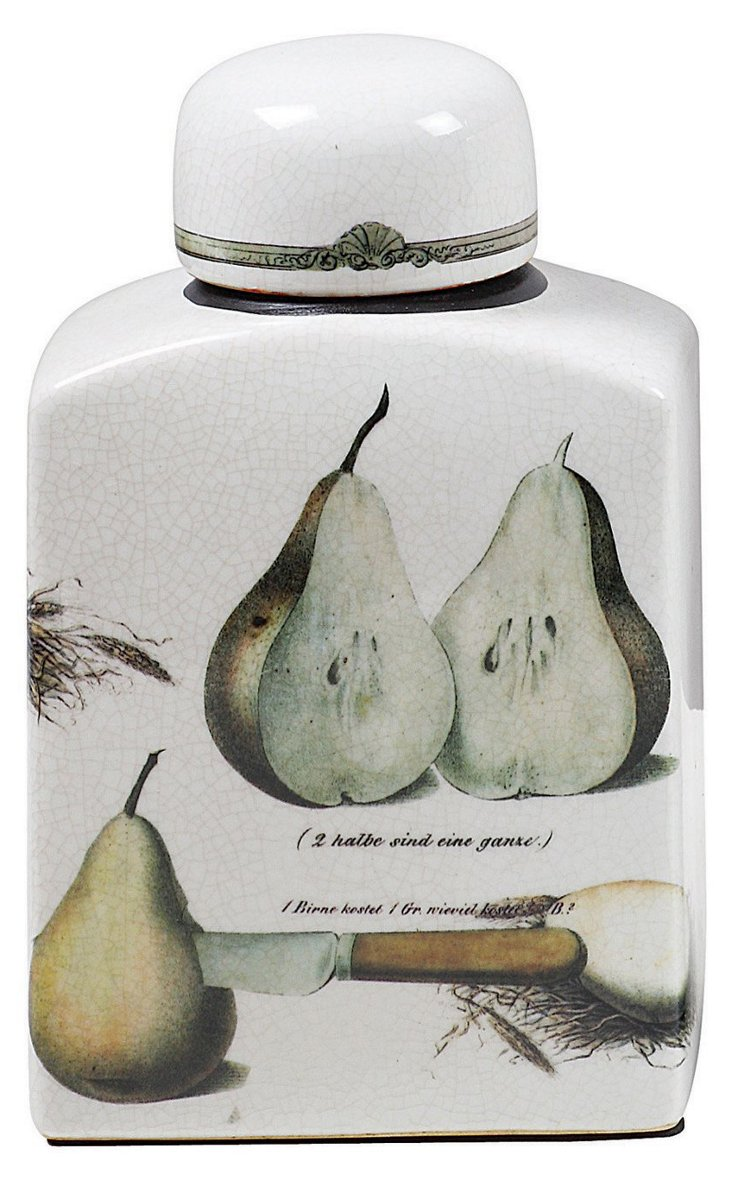 """9"""" Pear Stoneware Container w/ Lid"""